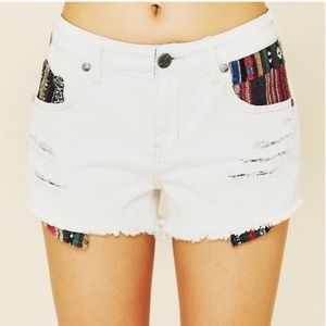 Free People Aztec White Cut Off Shorts